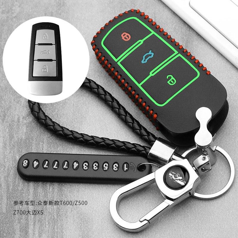De coche de cuero funda de cobertura de mando a distancia de protección piel set cap hood para Zotye T500 T600 T700 T800 remoto llavero estilo de coche