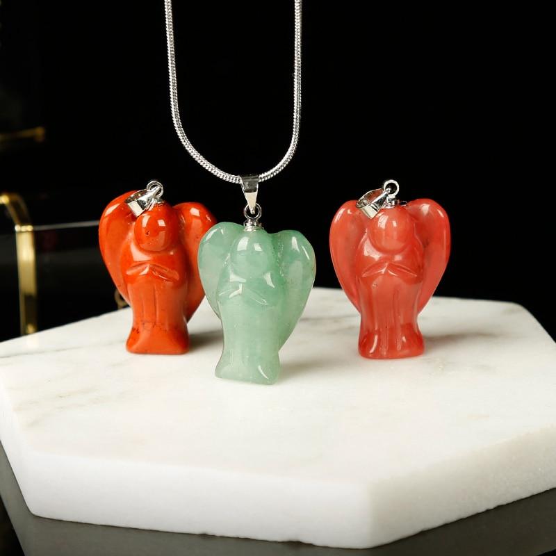 1pc colorido moda anjo pingente colar mineral cura cristais jóias rosa quartzo meditação festa de férias presente diy