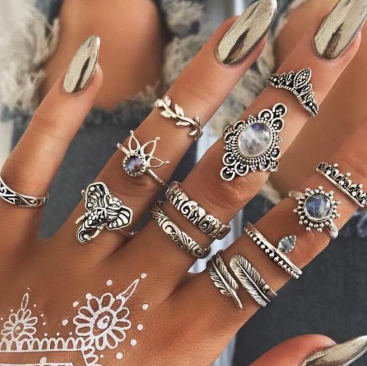 12 unids/set bohemio Vintage elefante de plata antiguo corona de hojas dedo anillos Midi de nudillos Set para joyería de las mujeres