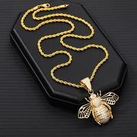 hip hop high quality zircon bee necklaces men gold color aesthetic honeybee pendant jewelry for women 2020 trend gifts