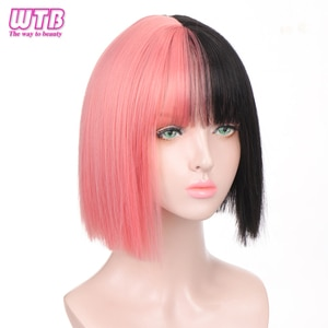 WTB Synthetic Short Straight Pink Black Ombre Colorful Bob Wig with Bangs for White/Black Women Heat Resistant Fiber Cosplay Wig