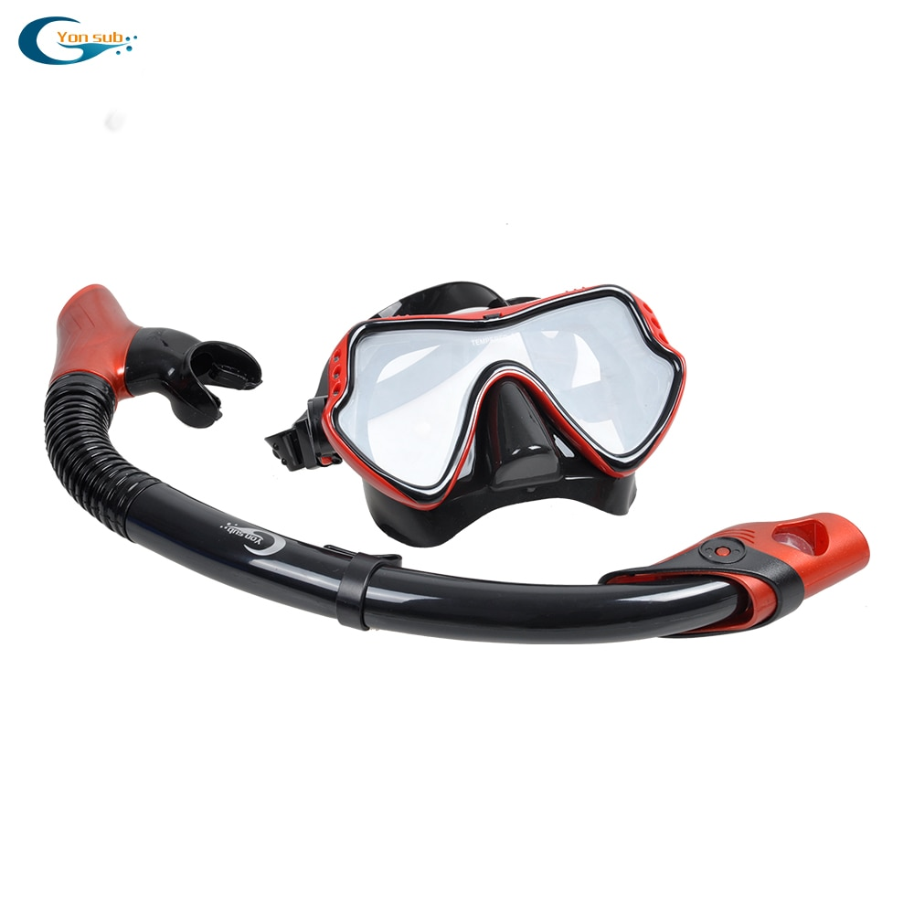 Free Shipping Scuba Diving Equipment Silicone Tempered Glass Diving Mask+100% Dry Snorkel YM280+YS03Black
