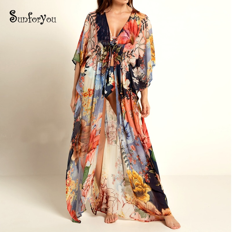 Plus size Chiffon Bohemian Maxi Dress Floral Print Cardigans Long Summer Beach Dress Women Beachwear Sarong Tunic Beach Pareo