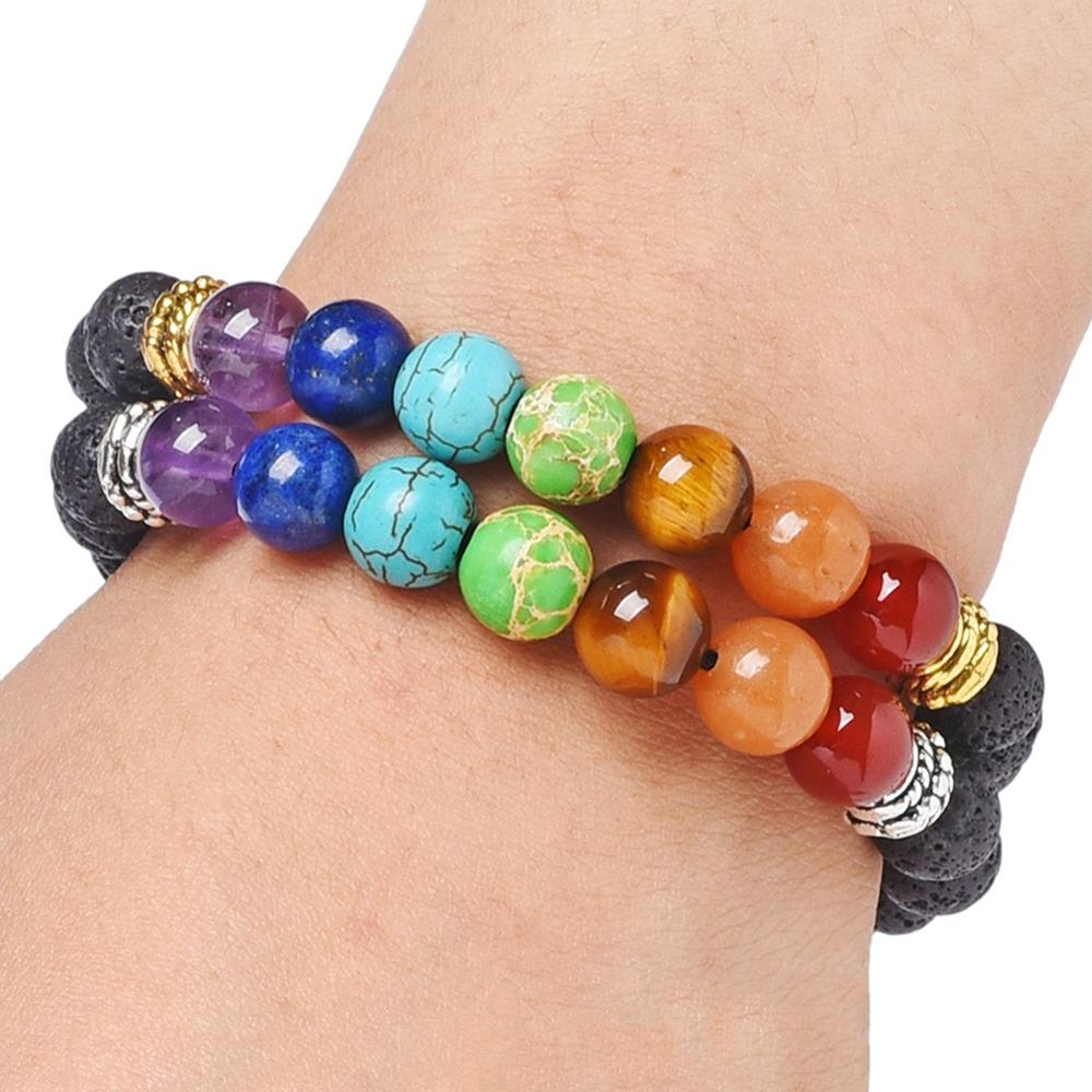 7 chakra yoga contas de pedra natural energia pulseira 8 palavra tecido corda pulseiras para homens charme jóias presentes