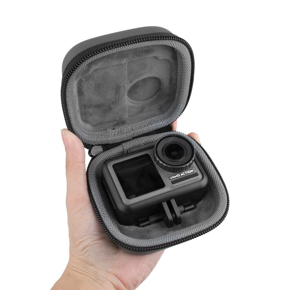 Pequeña cámara deportiva Mini bolsa de almacenamiento portátil paquete independiente accesorios de protección paquete duro forro pelusa para a prueba de golpes gris