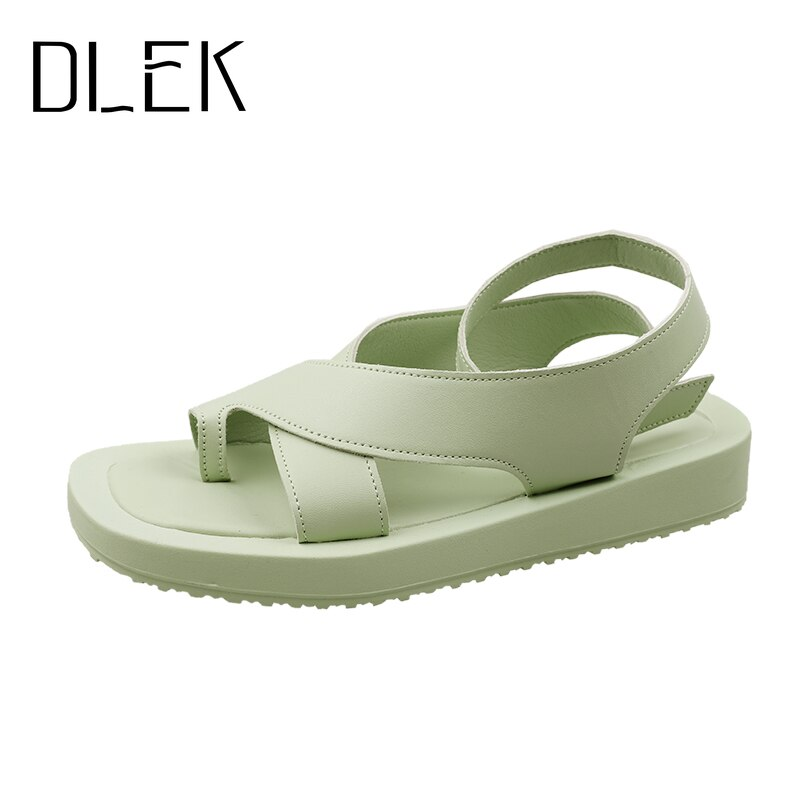 DLEK Sandals Women Summer Clip Toe Green Comfortable Light Buckle Strap Female Shoes Casual New Design Modern Sandal
