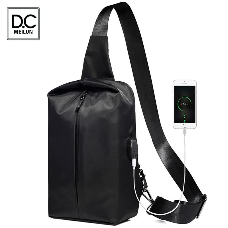 DC.meilun Sling Bag for Black Casual Functional Men Pack Dual Earphone Jack Men Shoulder Messenger Bags Bolso Hombre Chest Bag