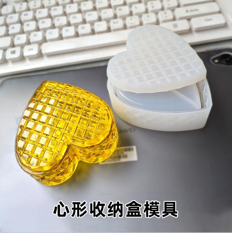 Caja de almacenamiento de joyería a cuadros amor en forma de corazón caja de almacenamiento molde de silicona