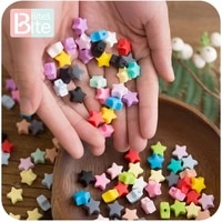bite bites 10pcs silicone beads food grade silicone star teether baby products silicone rodent bracelet diy crafts baby teether