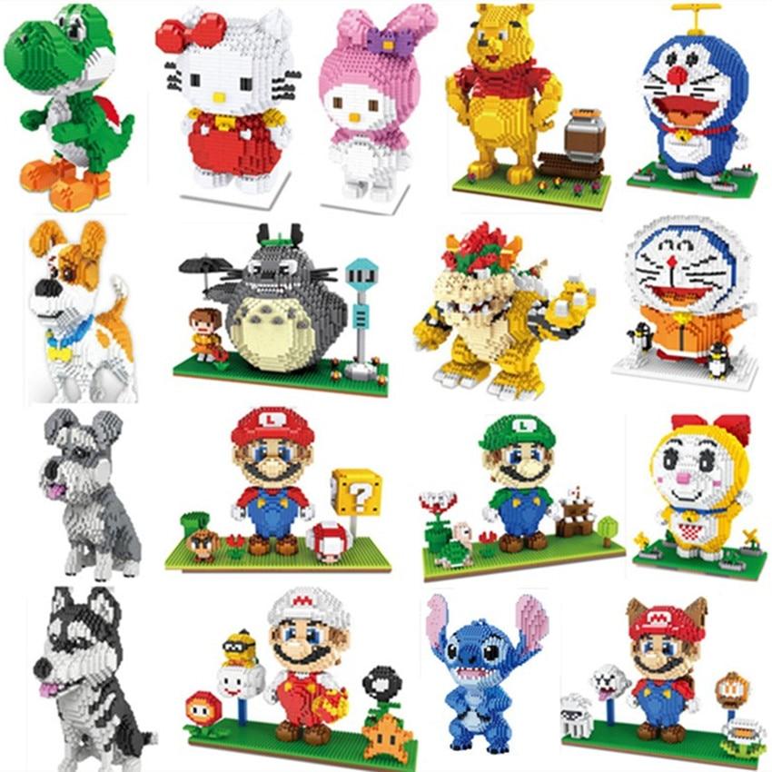 Мини блоки Макс собака большой размер милый медведь Ститч Сенс Модель Кирпичи Hello сборка brinquedos детские подарки Робот игрушки для детей