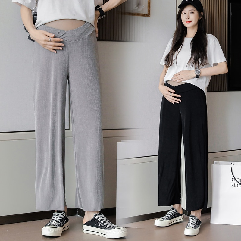 5515# Summer Thin Ice Silk Maternity Pants Low Waist Adjustable Belly Wide Leg Loose Pants Clothes for Pregnant Women Pregnancy