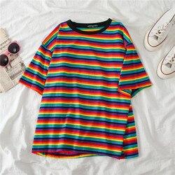 Camiseta de verão das mulheres da listra do arco-íris da camisa da camisa da luva do algodão