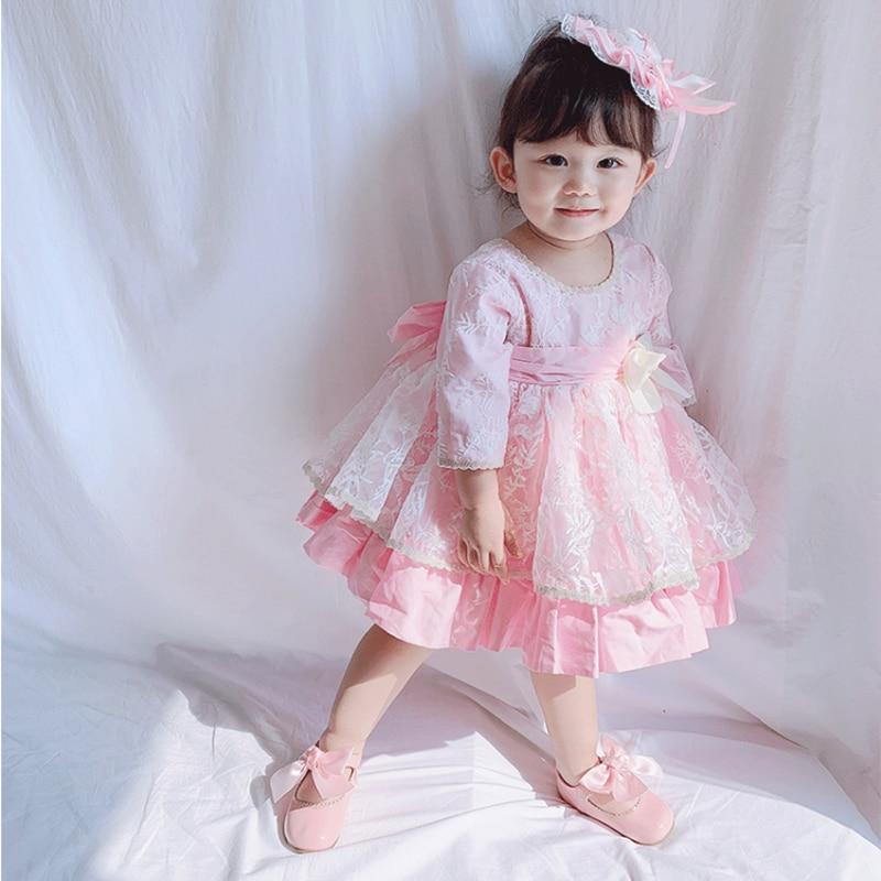 Vestidos de niñas primavera 2020 para parte estilo español princesa falda para niña ropa vestidos de encaje falda chica casual niños conjuntos