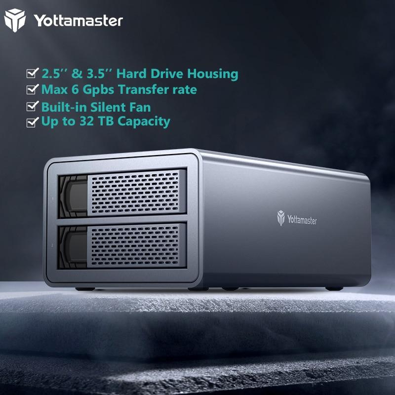 Фото - Чехол для внешнего жесткого диска Yottamaster FS2U3 HDD SSD 2,5 дюйма 3,5 дюйма USB3.0 до SATA3.0 док-станция для внешнего жесткого диска 2 отсека Корпус для жест... салазки kingston для 3 5 отсека для hdd 2 5 sna br2 35