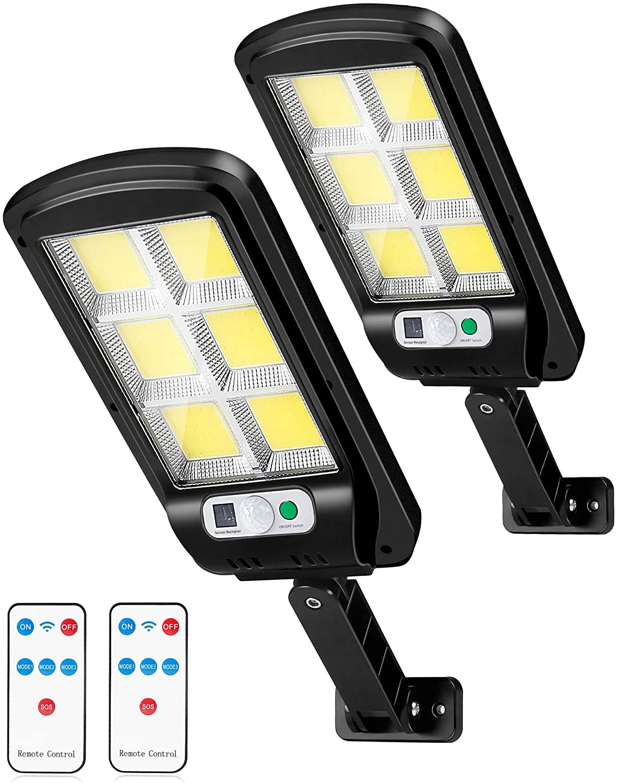 LED Solar Street Lights 2 Pack Motion Sensor Security Wall Light 120 LED 6000lm Outdoor Solar Lighting with 3 Modes Solar Light