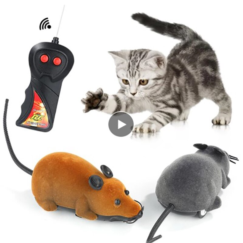 Wireless Remote Electronic Rat Cat Puppy Pets Gift Cat Toys Plush Mouse Mechanical Motion Rat Kitten