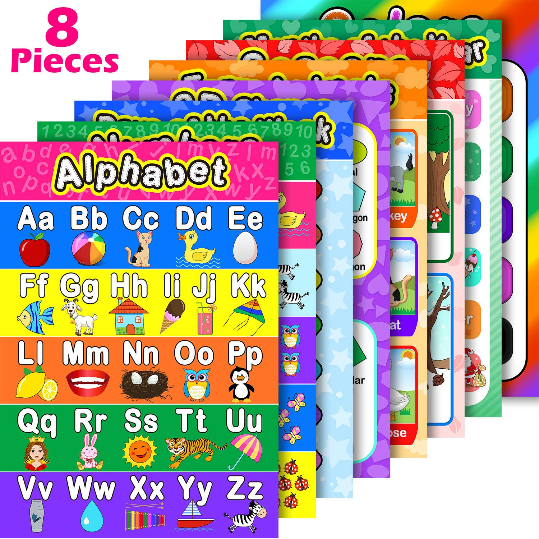 Декоративные постеры для раннего обучения на английском, красочные прочные образовательные англоязычные подвесные постеры для дошкольник...