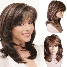WHIMSICAL WLong Natural Wave Wigs For Women Ombre Wave Blonde Brown Natural Synthetic Wig Heat Resistant Hair Wigs