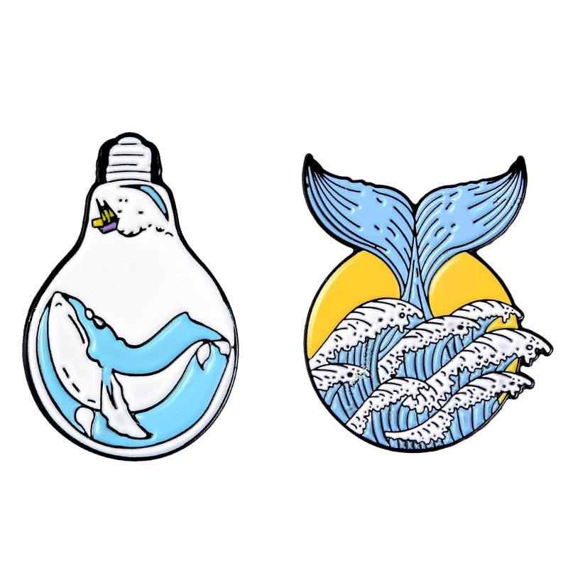 Amantes de la onda esmalte Pin ballena bombilla océano onda sirena cola mar insignia broche solapa pin joyería de moda