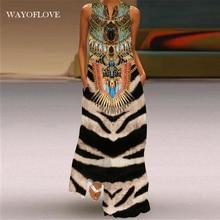 WAYOFLOVE Tiger Print Dress 2021 Vintage V Neck Casual Oversize Long Dresses Summer Woman Sleeveless