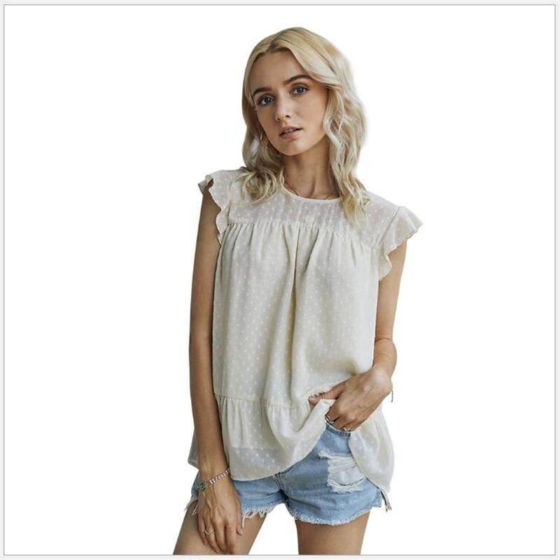 Verão mulheres chiffon blusas camisa feminina topos sexy blusas praia férias sem mangas em torno do pescoço pulôver blusa mujer g670