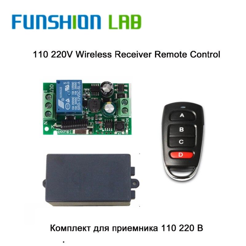 FUNSHION Universal 433 MHz AC 220V 1 canal Control remoto interruptor Transmisor RF garaje aprendizaje 1527 o 2262