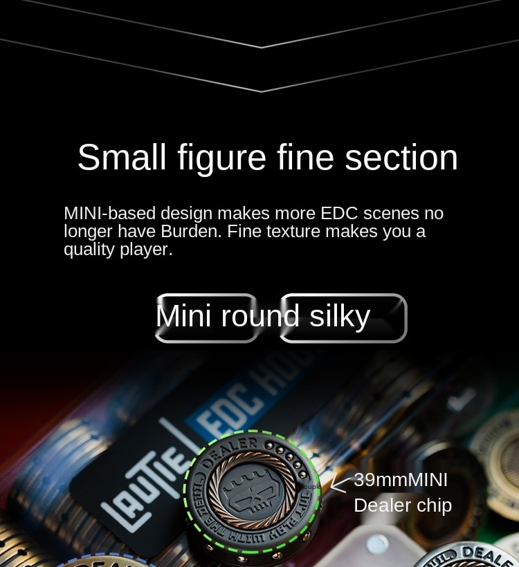 Mini Dealer Chip Fingertip Gyro Metal Titanium Alloy Finger Decompression Toy EDC Artifact out of Print Lasting enlarge