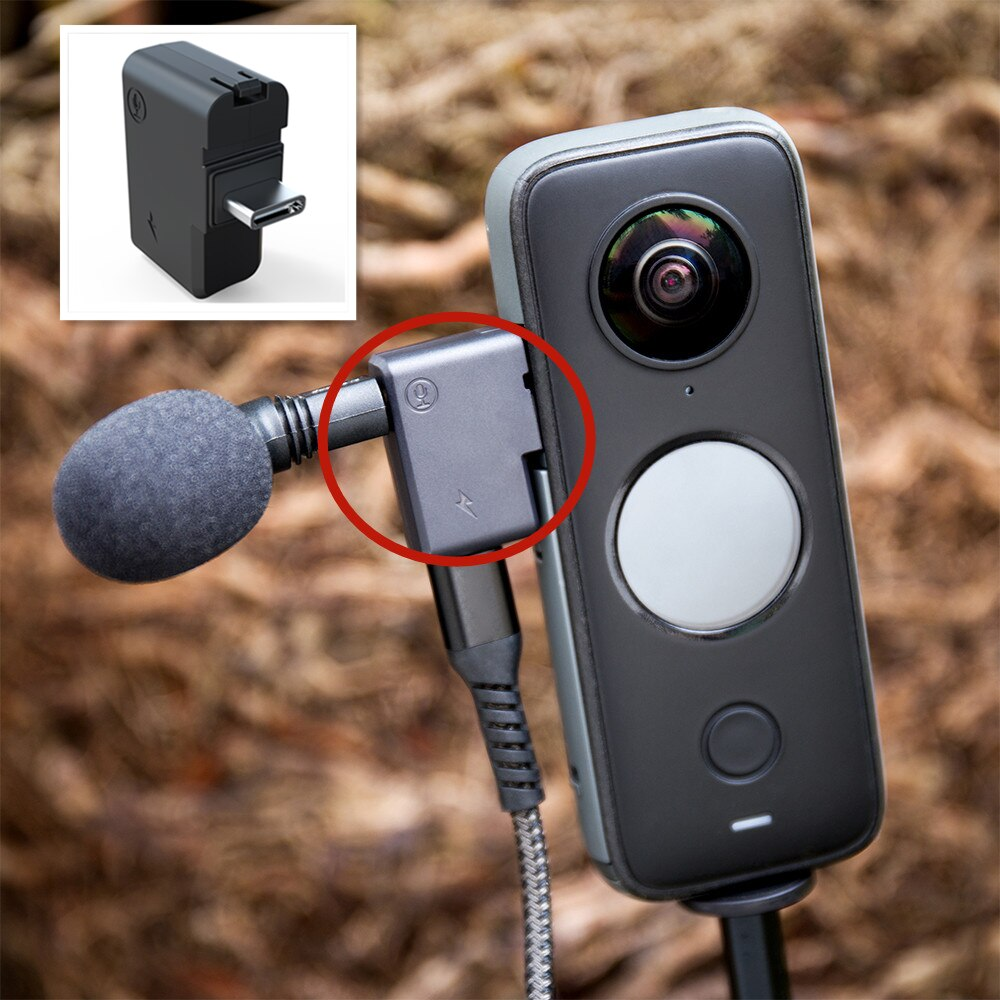 for Insta360 ONE X 2 Charging Audio Adapter Mini Microphone External Adapter Panoramic Camera Accessories