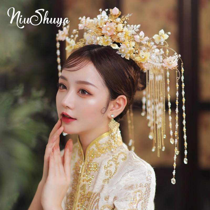 NiuShuya Tradition Chinese Luxury Gold Pink Flower Garland Bridal Crowns Phoenix Coronet Headpiece Wedding Hair Accessories