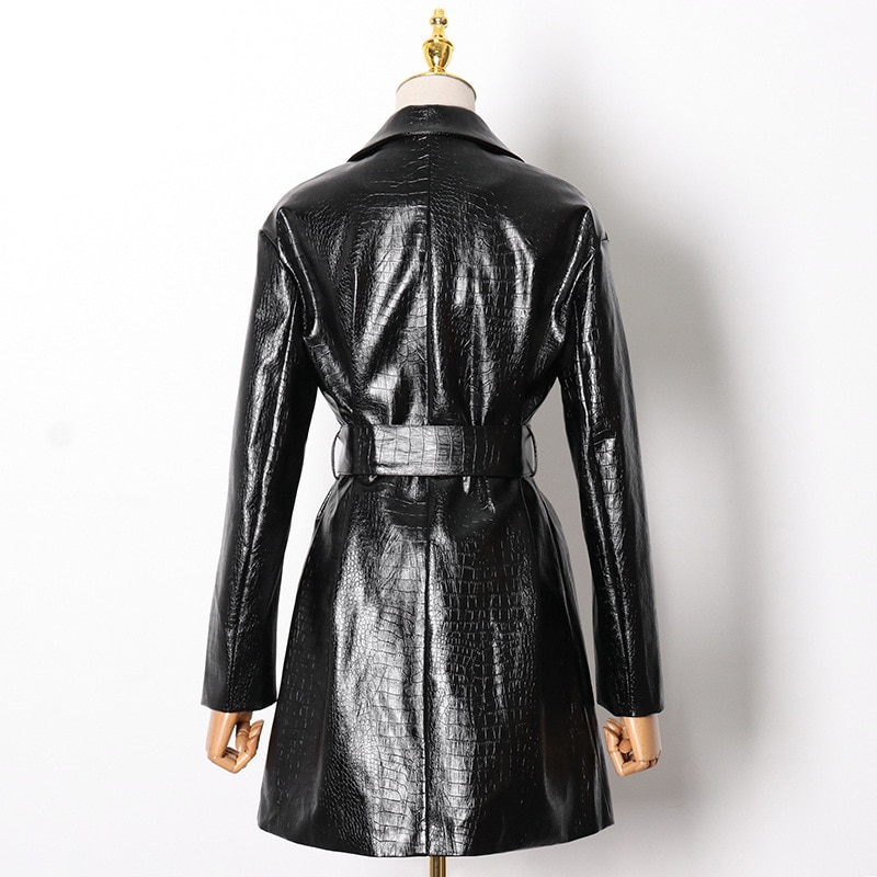 Winter women's long leather jacket new fashion V-neck wild waist tie-up commuter casual hip-hop street trend warm jacket 2020 enlarge