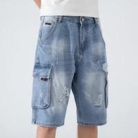plus size denim shorts men 2021 summer fashion destroyed hole blue ripped jeans short cargo pants