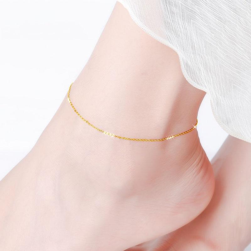 NYMPH ريال 18K الذهب خلخال غرامة مجوهرات نقية AU750 قابل للتعديل سلسلة الأصفر زهرة بيضاء الذهب للنساء الفاخرة هدية J501