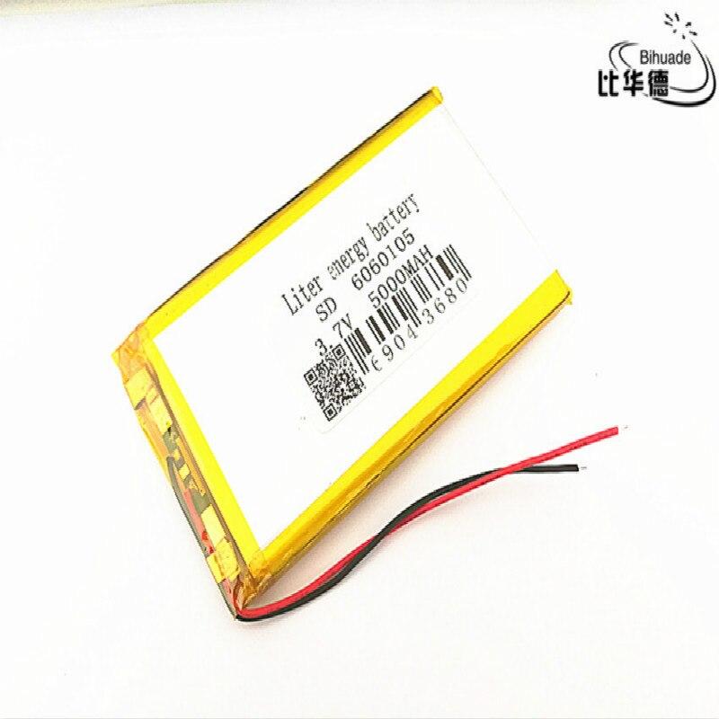 2 uds./batería de energía de loLiter buena calidad 3,7 V, 5000 mAH, 6060105 polímero de litio ion/batería de Li-ion para TOY, POWER BANK, GPS, mp3, mp4