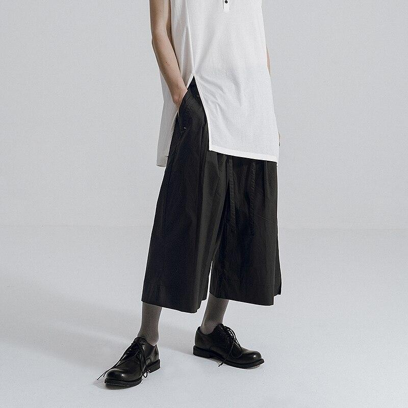 [HUANXIANGZHE] 2020 Summer Pants Man Black Casual pants men Loose Trouser Wide leg pants Calf-length pants