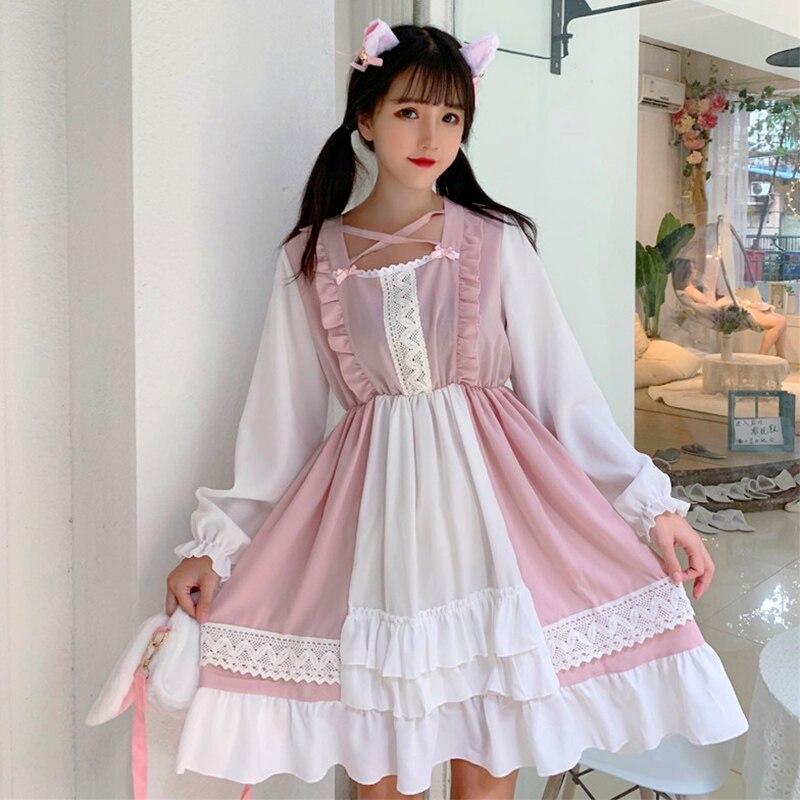 Bata vestidos de mujer moda femenina marca de moda lolita estilo vestido ropa de mujer primavera otoño vestidos Kawaii vestidos femeninos