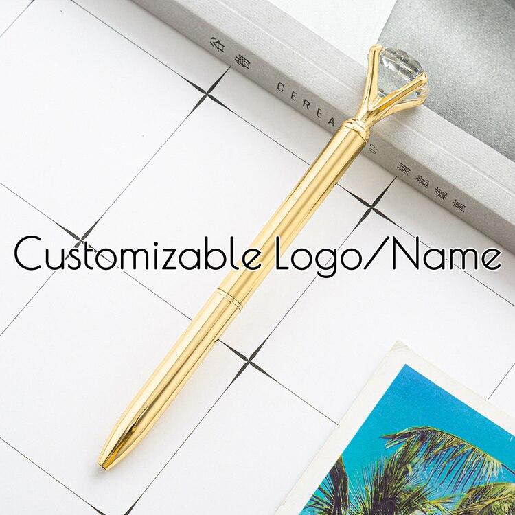Ручка шариковая металлическая ручка с кристаллами с логотипом на заказ, синяя шариковая ручка 0,7 мм с бриллиантами, подарок для школы и студ...