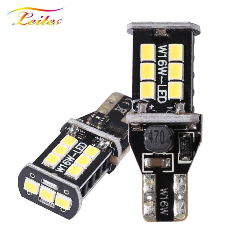 2pcs T15 W16W WY16W 15SMD 2835 LED CANBUS NO ERROR Car Tail Bulb Brake Light Auto Backup Reverse Lamp Red, Amber, Xenon White