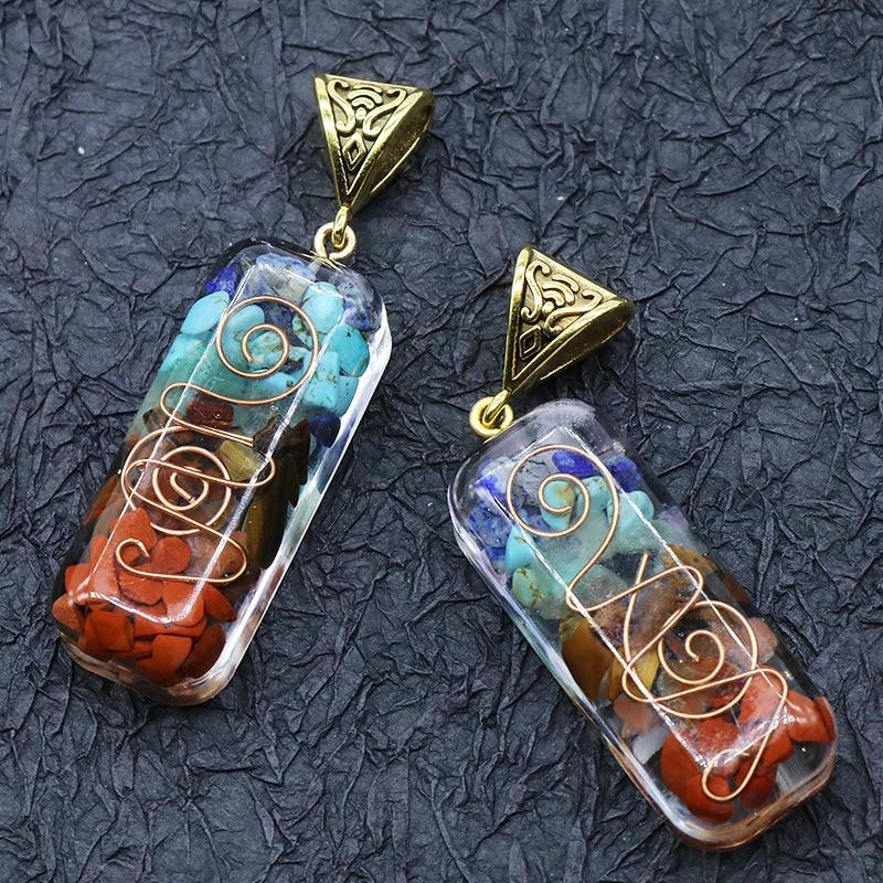 50PCS Fatory Outlet Chakra Natural Necklace Pendants Orgonite Energy Jewelry Pendant Dowsing Pendulum Amulet For Wholesales
