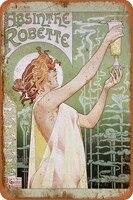 Absinthe     Plaque murale retro en etain  Plaque murale personnalisee en metal  affiche artistique  decor de Bar  Pub  diner  cafe  maison  Garage