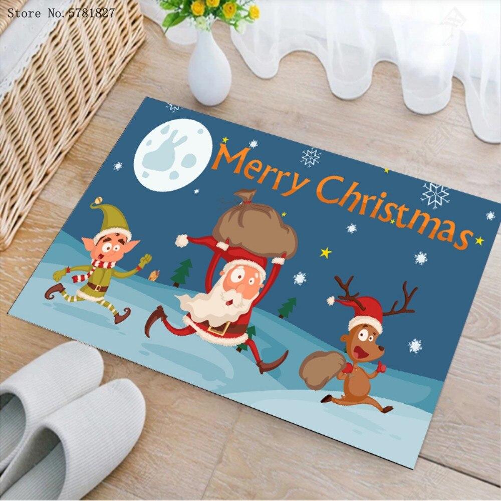 Счастливый Новый год коврик 3D принт коврик с Рождеством, коврик для ванной комнаты, мягкий коврик для Праздник прямоугольник Пол Ковер