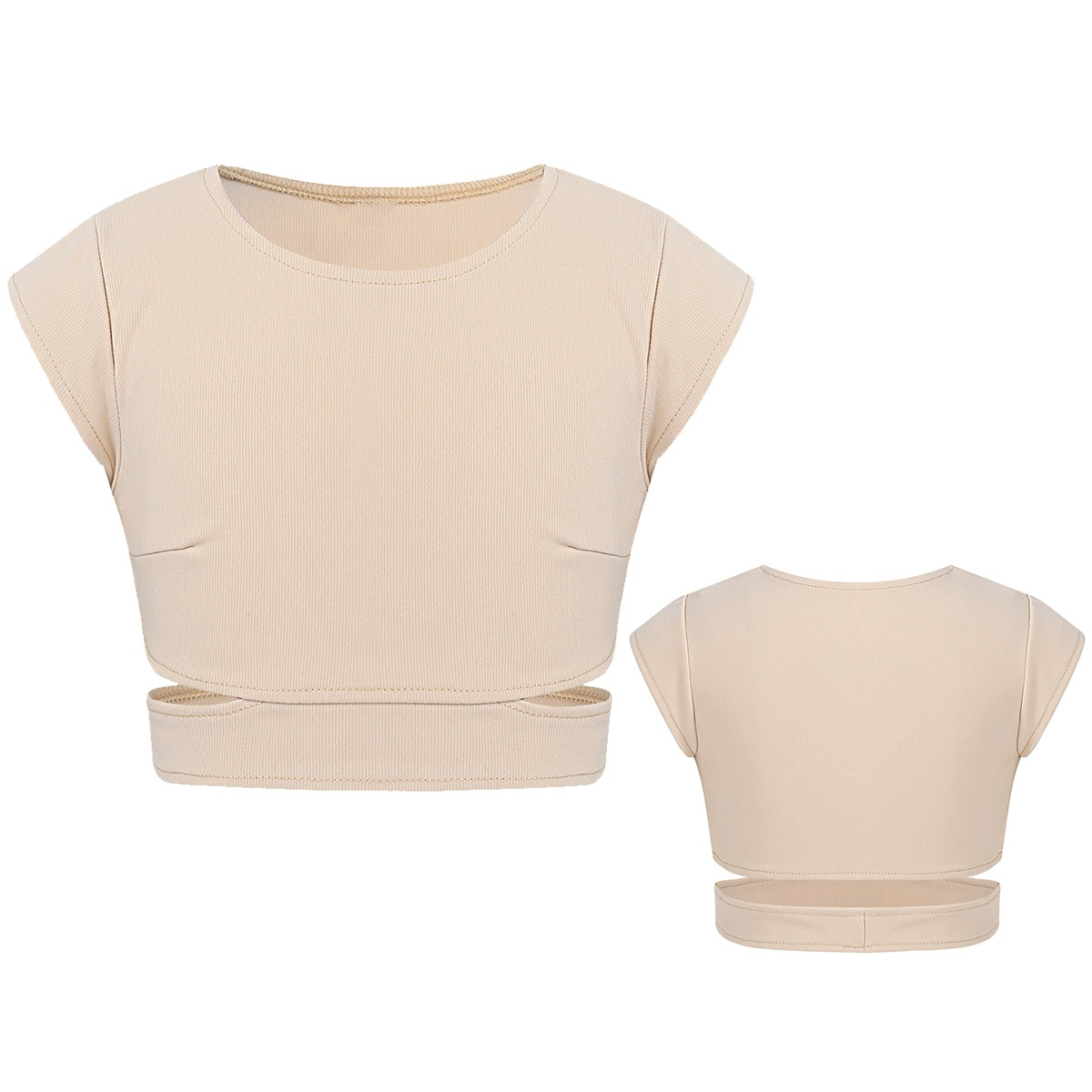 Oyolan Kids Girls Cap Sleeves Stretchy Cutout Waist Tanks Bra Tops Children Crop Top for Ballet Danc