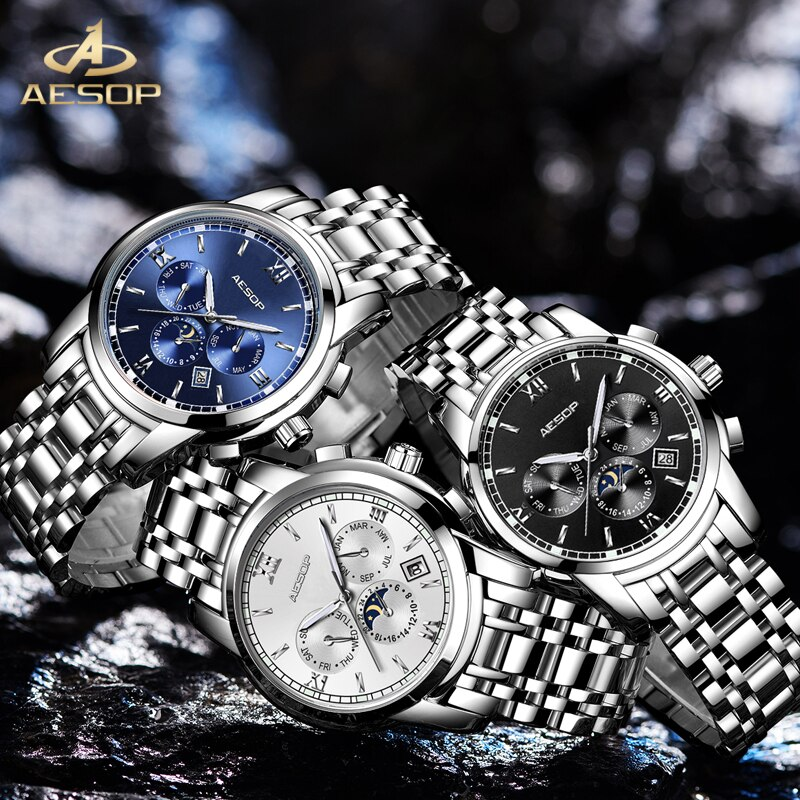 AESOP Brand Fashion Watch Man Waterproof Moon Phase Calendar Casual Automatic Mechanical Wristwatch Luminous Relogio Masculino enlarge