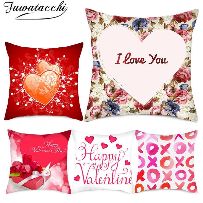 red rose flower heart polyester decorative throw pillowcase i love you letter cushions cover for sofa car valentine s day gift Fuwatacchi I Love You Words Pillow Cover Red Flower Heart Cushion Cover Printed Throw Pillowcase for Home Sofa Decorative Pillow