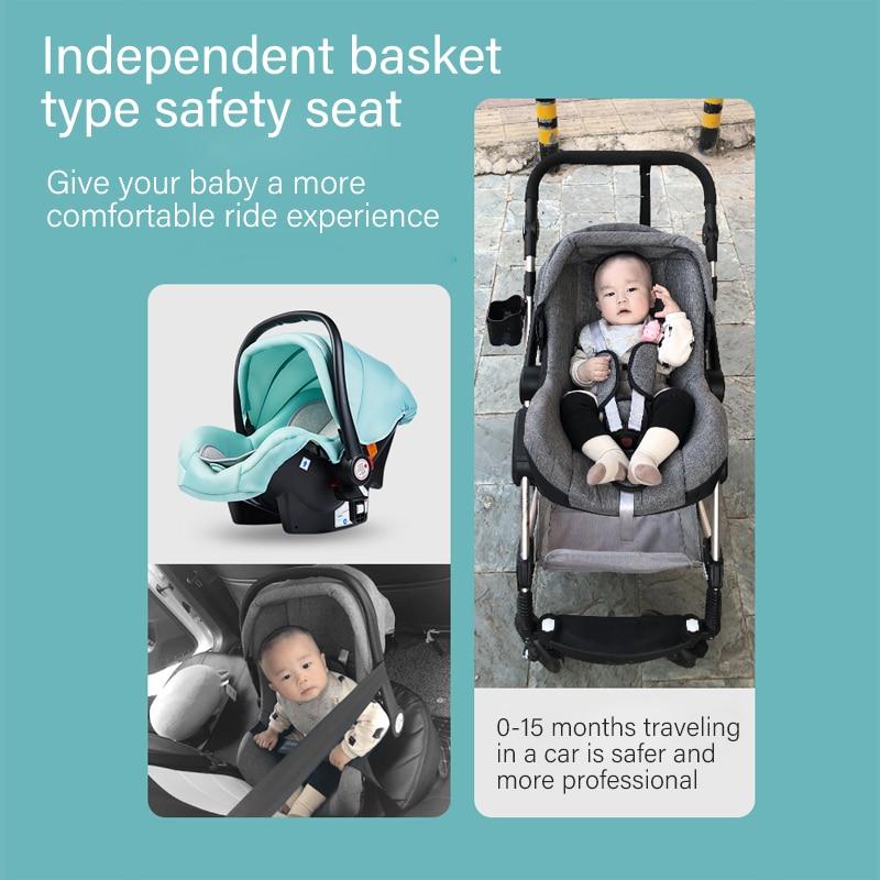 3 in 1 Baby Stroller High Landscape Stroller Luxury Newborn Baby Stroller Folding Strollers Baby Trolley with Basket in stock enlarge
