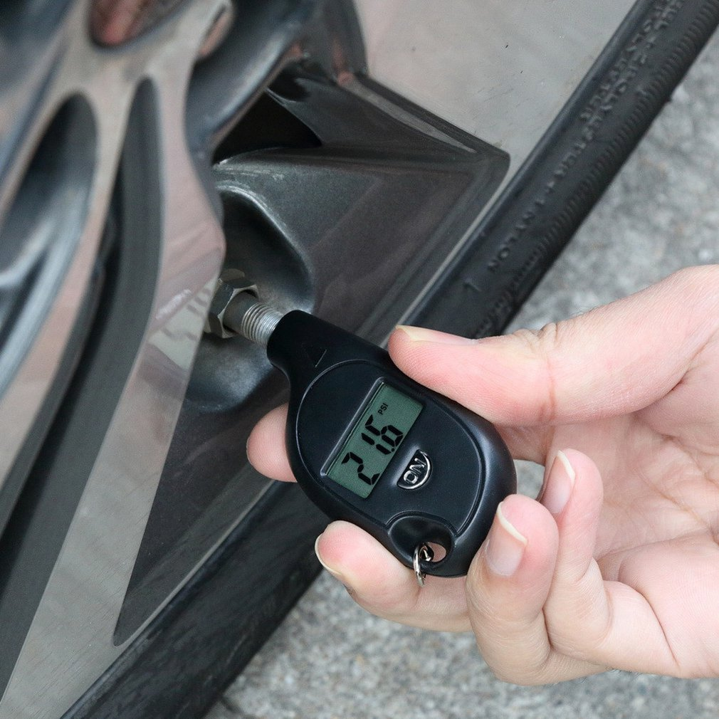Mini llavero estilo neumático indicador Digital Lcd pantalla coche neumático presión probador medidor Auto coche motocicleta neumático alarma de seguridad
