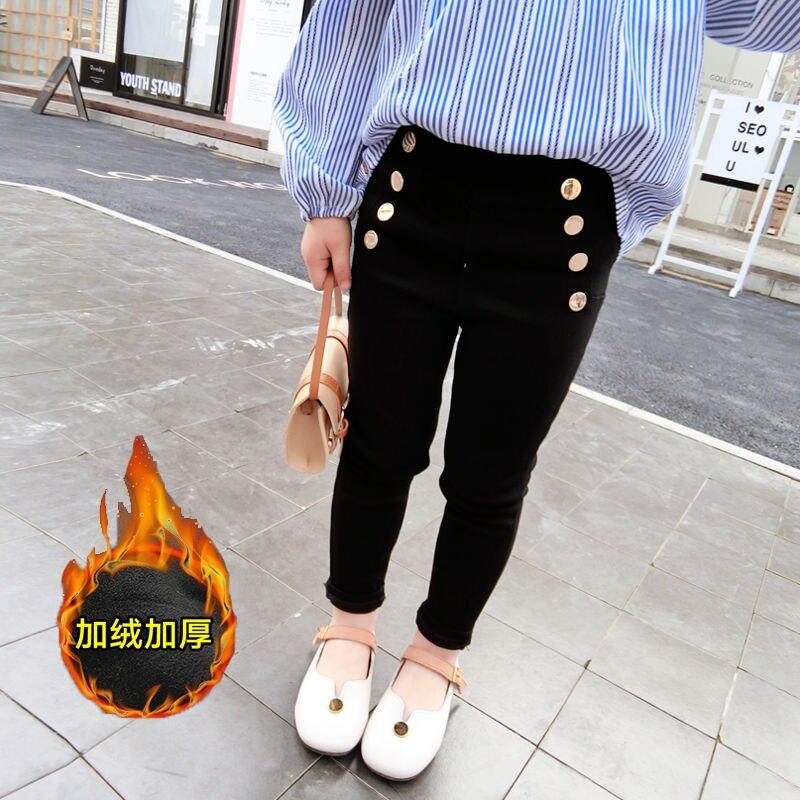 Pantalones de invierno INS HOT Baby para niñas de 2 a 9 años de edad, pantalones largos elásticos de terciopelo con decoración de botones de cintura alta de estilo coreano