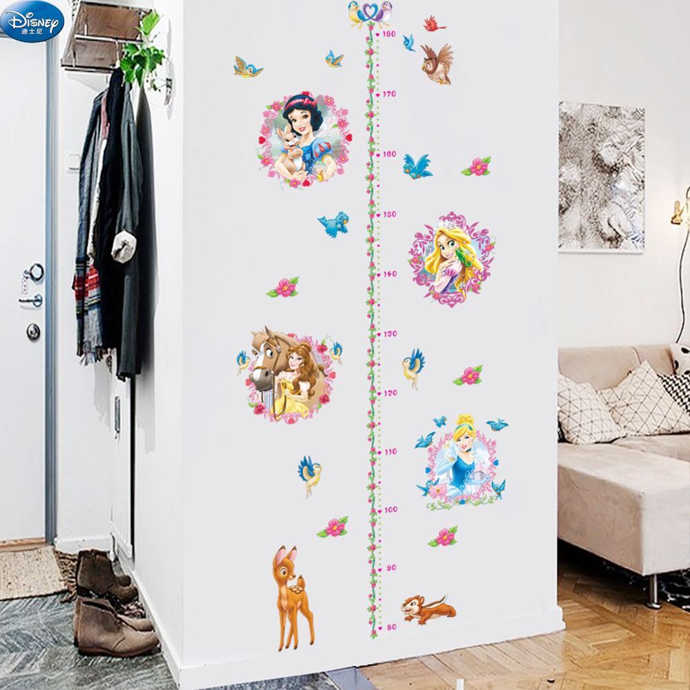 Disney selva princesa altura medida adesivos de parede para o quarto das crianças bebê meninas dos desenhos animados flor aves gráfico crescimento decalques casa decoração