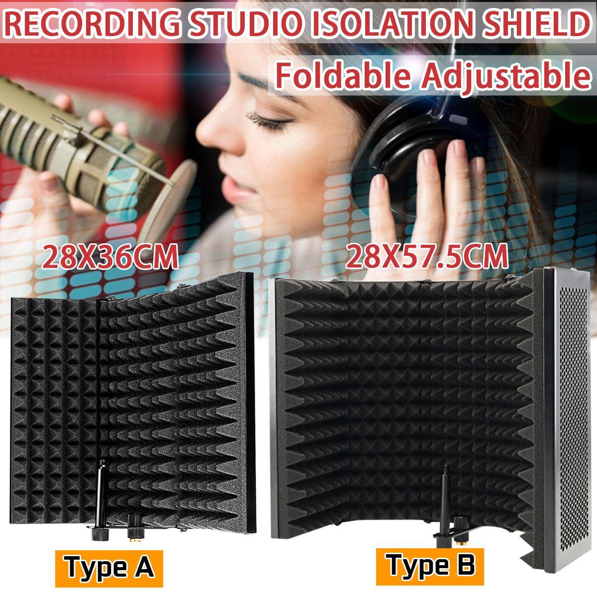 Micrófono plegable aislamiento acústico Escudo de aleación de espuma acústica Panel ajustable estudio grabación micrófono Accesorios