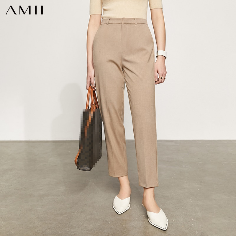 Amii بساطتها الصيف جديد بانت للنساء السببية الصلبة عالية الخصر مستقيم Ankel طول الرسمية سيدة المرأة البدلة السراويل 12130230