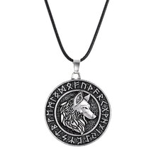 Vintage nordique Viking Pirate collier pendentif rond pour hommes Odin mont celtique loup Punk colliers mâle accessoires